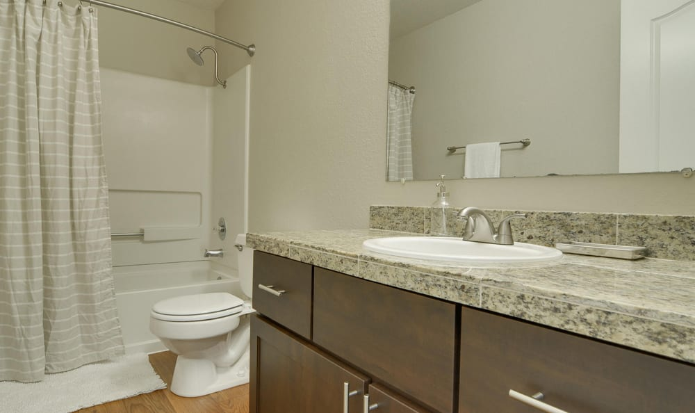 luxury apartment bathroom at Carriage House Apartments in Vancouver, WA