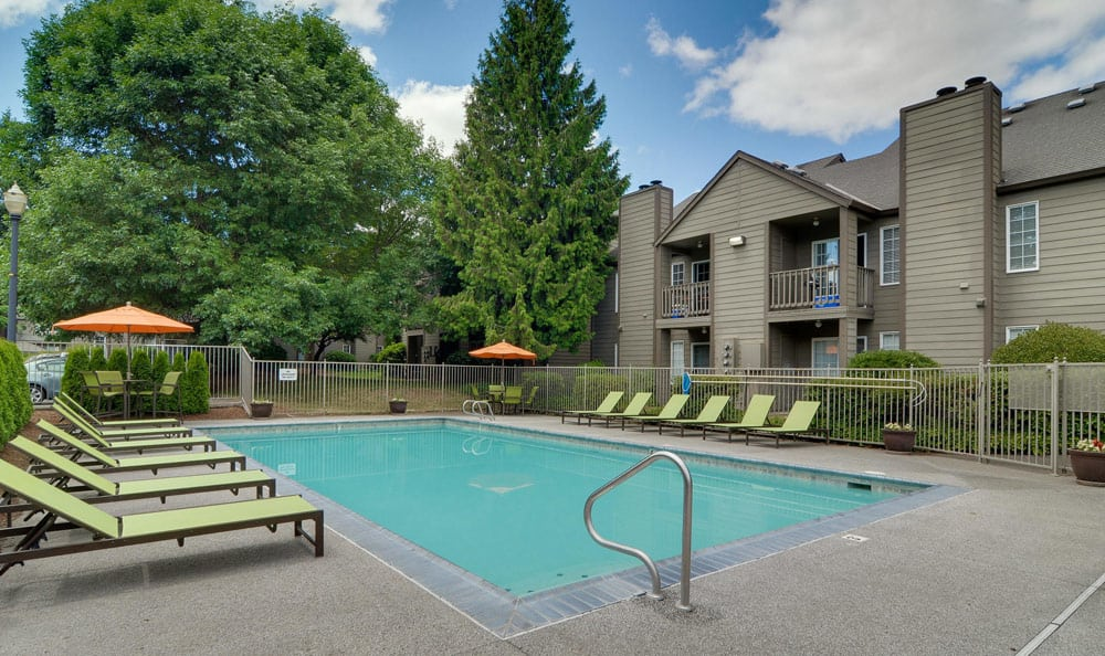 Living at Carriage House Apartments includes a pool