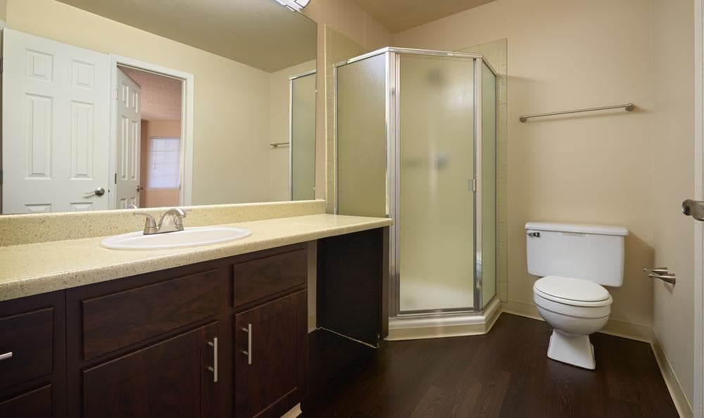 brown renovation Bathroom in our residences at Bluesky Landing Apartments
