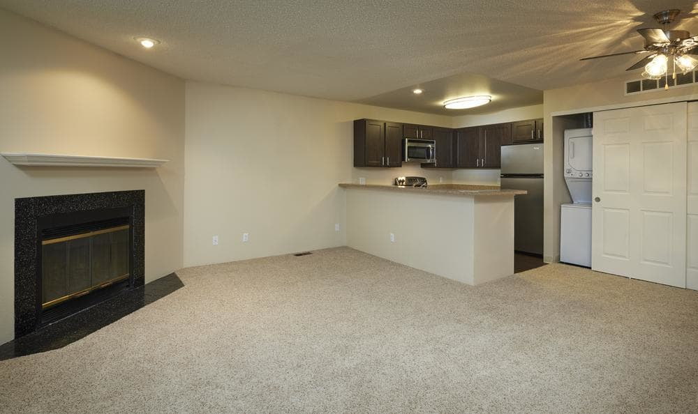 Spacious floor plans with fireplace at Bluesky Landing Apartments