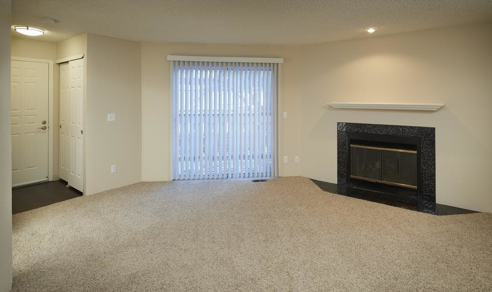Living room with fireplace at Bluesky Landing Apartments