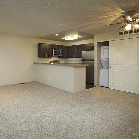 Kitchen and space for the dinning table at Bluesky Landing Apartments in Lakewood,CO