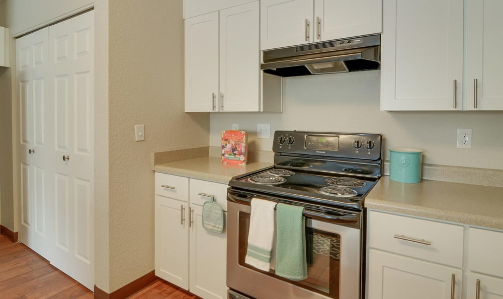 Kitchen and laundry included in our floor plans at Carriage Park Apartments