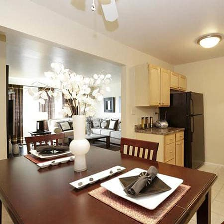 Dining area at Riverstone Apartments in Bolingbrook