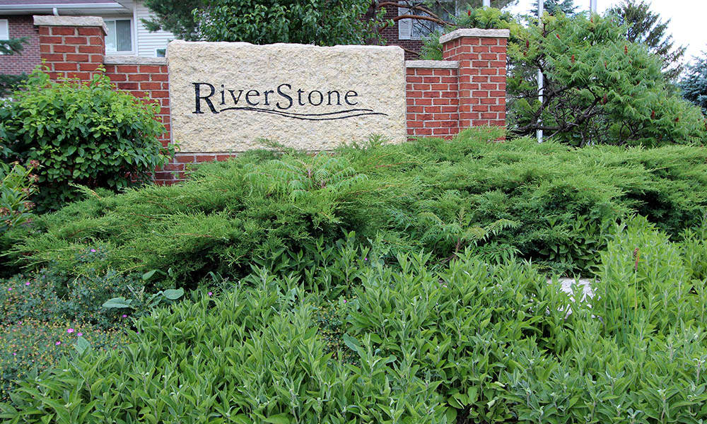 Riverstone Apartments monument sign