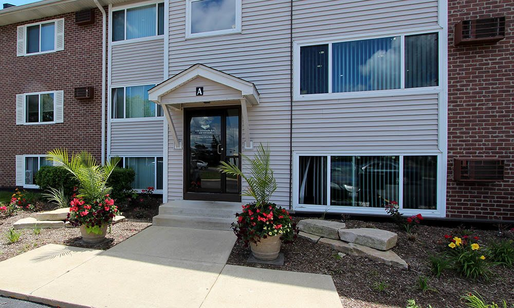 Exterior View Of Building A At West Line Apartments in Hanover Park, Illinois