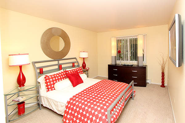 Master bedroom at West Line Apartments in Hanover Park, Illinois