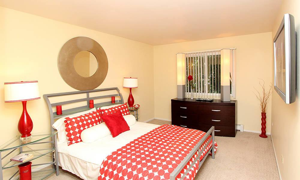 Furnished Model Bedroom At West Line Apartments in Hanover Park, Illinois