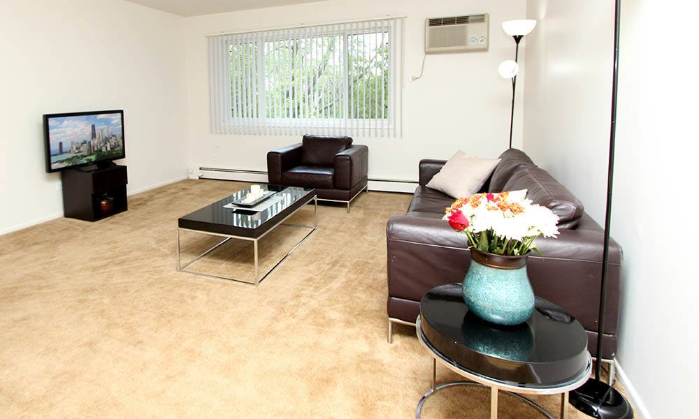 Living Room Setting At West Line Apartments in Hanover Park, Illinois