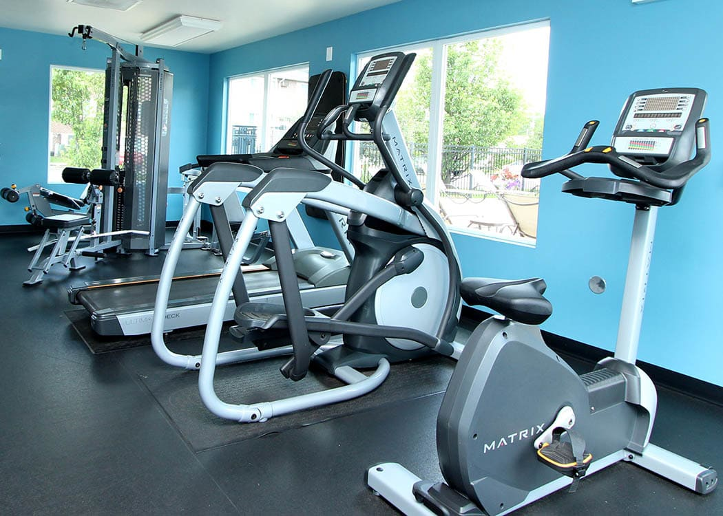 State of the fitness center at Westline Apartments in Hanover Park