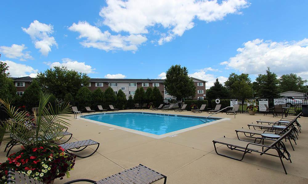 Pool And Outdoor Area At West Line Apartments in Hanover Park, Illinois