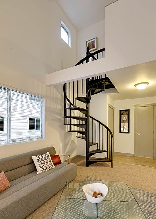 Tall stairway inside your future home at Elan 41 Apartments in Seattle