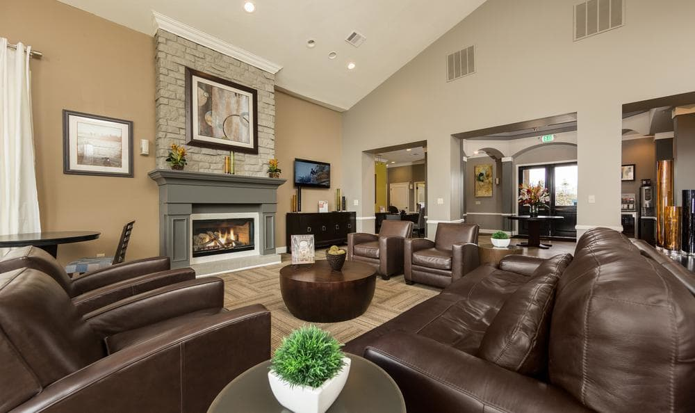 Clubhouse Living With Chimney at Gateway Park Apartments in Denver, CO