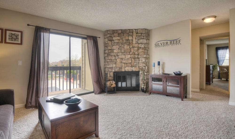 Spacious Living Room at Silver Reef Apartments in Lakewood, CO