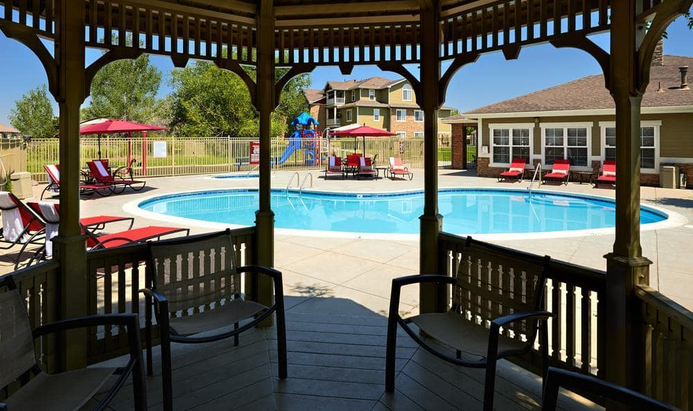 Pool View From Gazebo at Westridge Apartments in Aurora, CO
