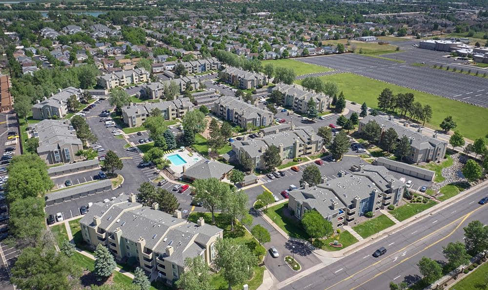 Aerial view at Alton Green Apartments in Denver, CO