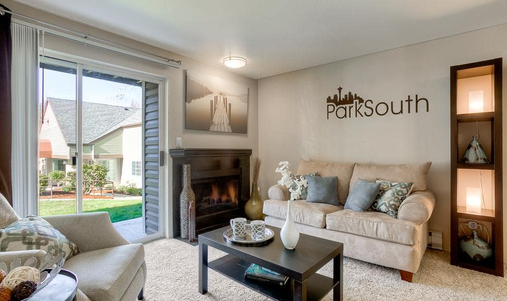Brightly Lit Living Room at Park South Apartments in Seattle, WA