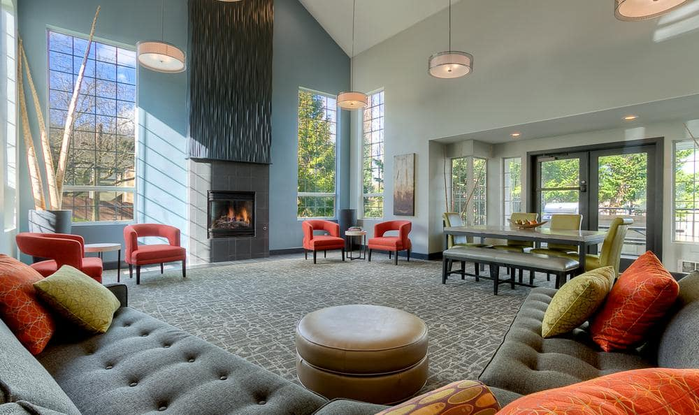 Clubhouse Living Room With Chimney at Park South Apartments in Seattle, WA