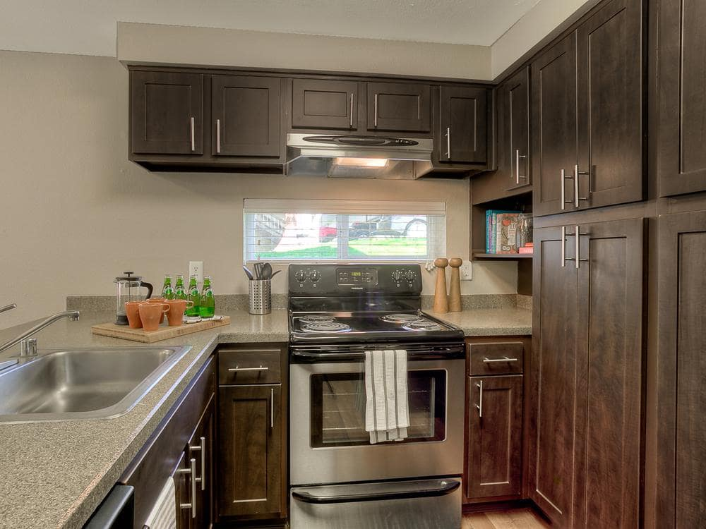 Fully equipped kitchen at Park South Apartments in Seattle