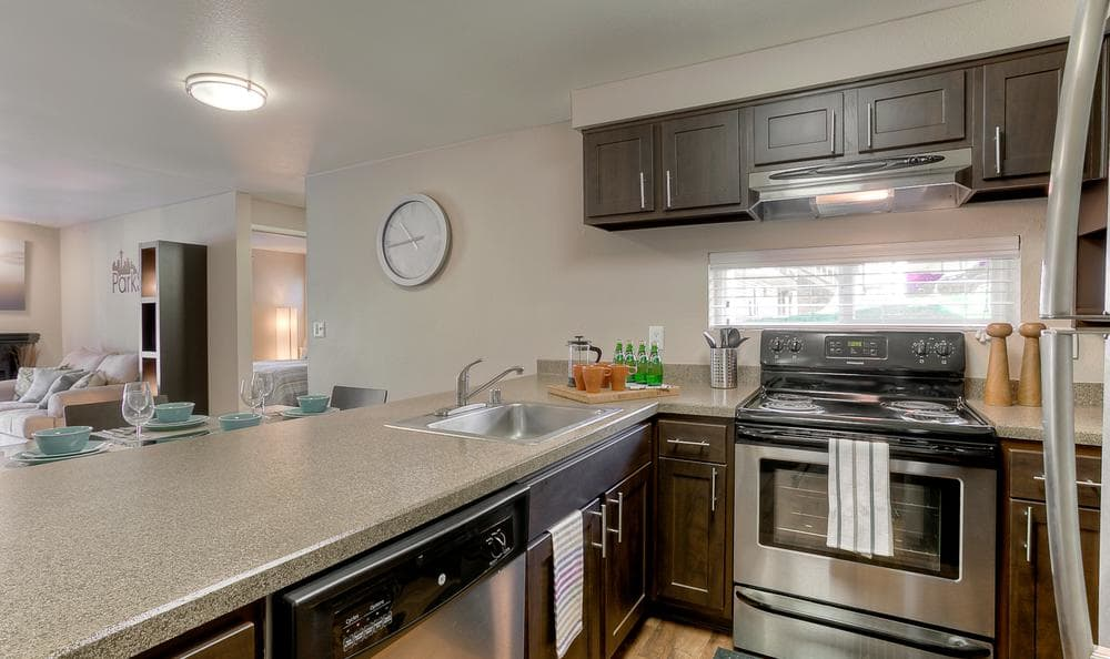 Kitchen Room With Breakfast Bar at Park South Apartments in Seattle, WA