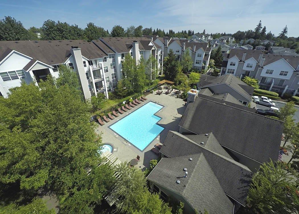 Pool deck at HighGrove Apartments