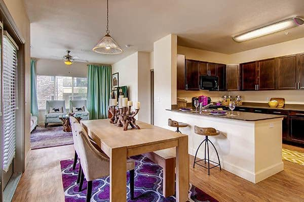 Kitchen and Living Room at M2 Apartments in Denver