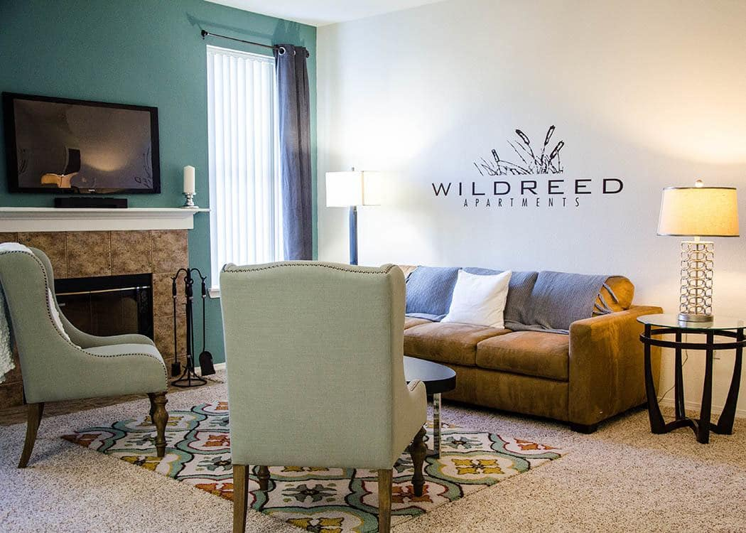 Living room at Wildreed Apartments