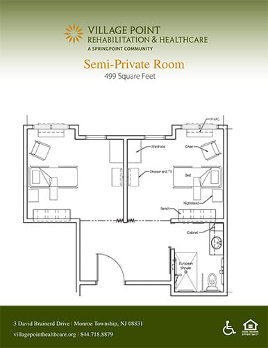 Semi-private room floor plan at Village Point Rehabilitation & Healthcare