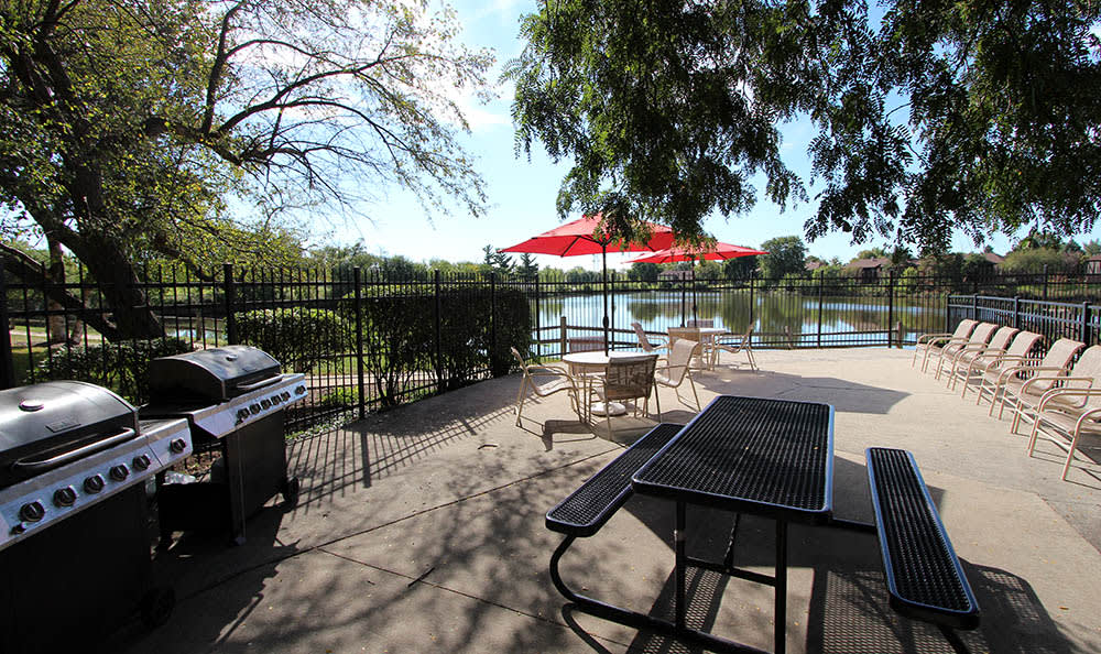 Bbq And Patio Area At Lakeside Apartments