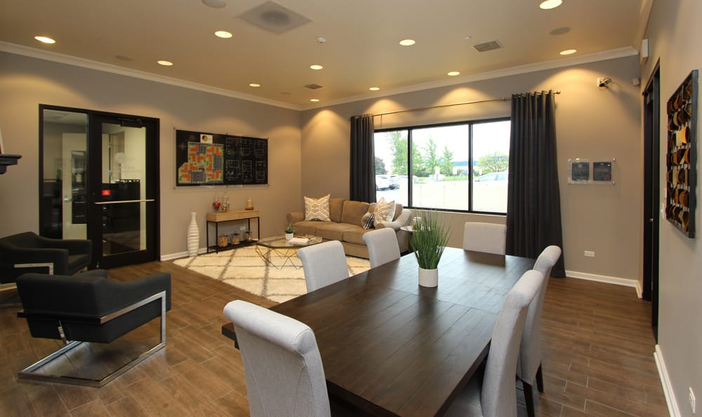 Modern clubhouse at apartments in Schaumburg
