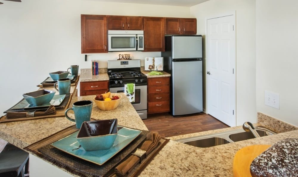 Modern kitchen at Lakeview Townhomes at Fox Valley