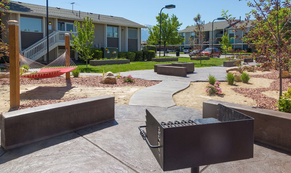 Aerial view of the courtyard at Brighton Place in Midvale, Utah