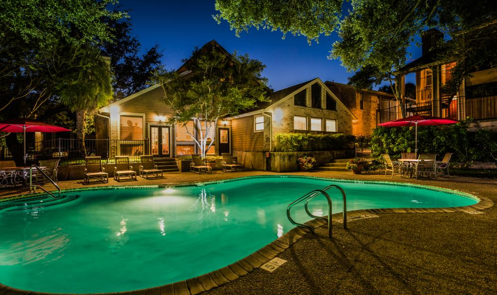 Woods of Elm Creek pool at night in San Antonio