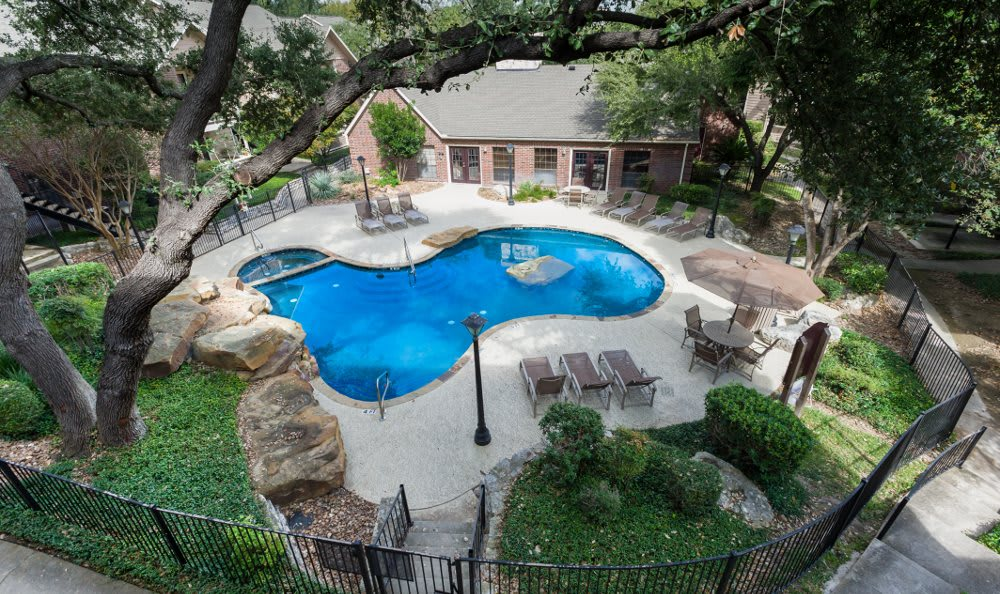 Aerial view of pool at Fountainhead in San Antonio