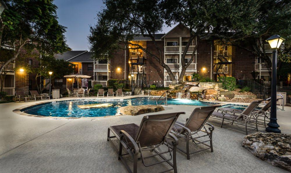 Fountainhead pool at night in San Antonio