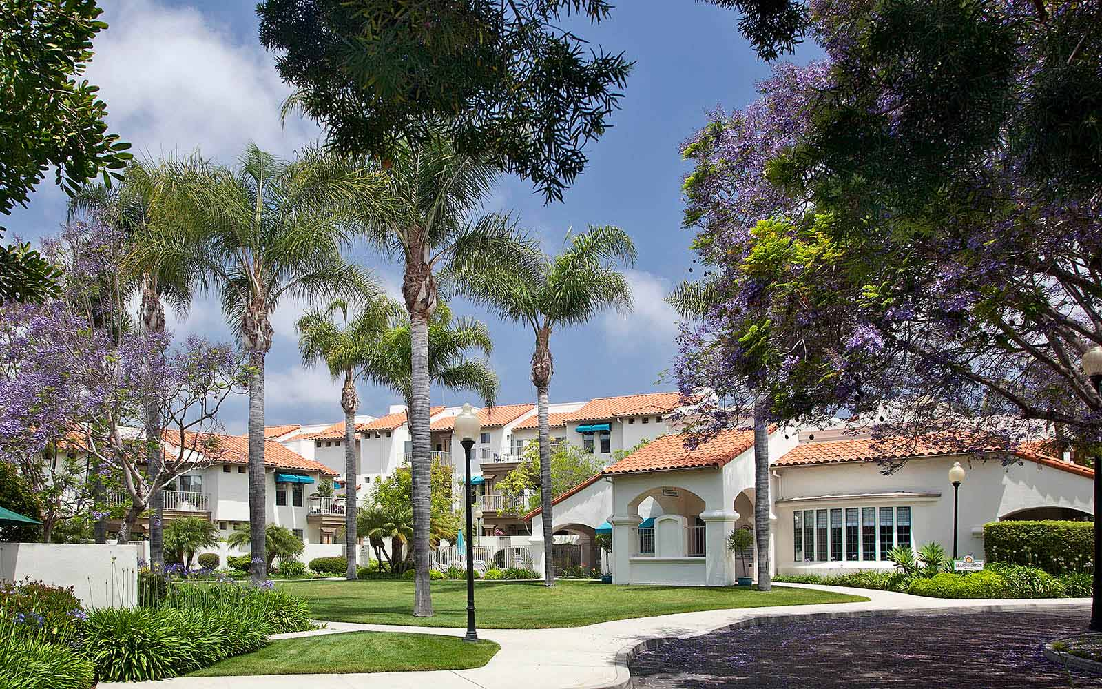 Beautifully Landscaped Grounds at Rancho Franciscan Senior Apartments in Santa Barbara, CA