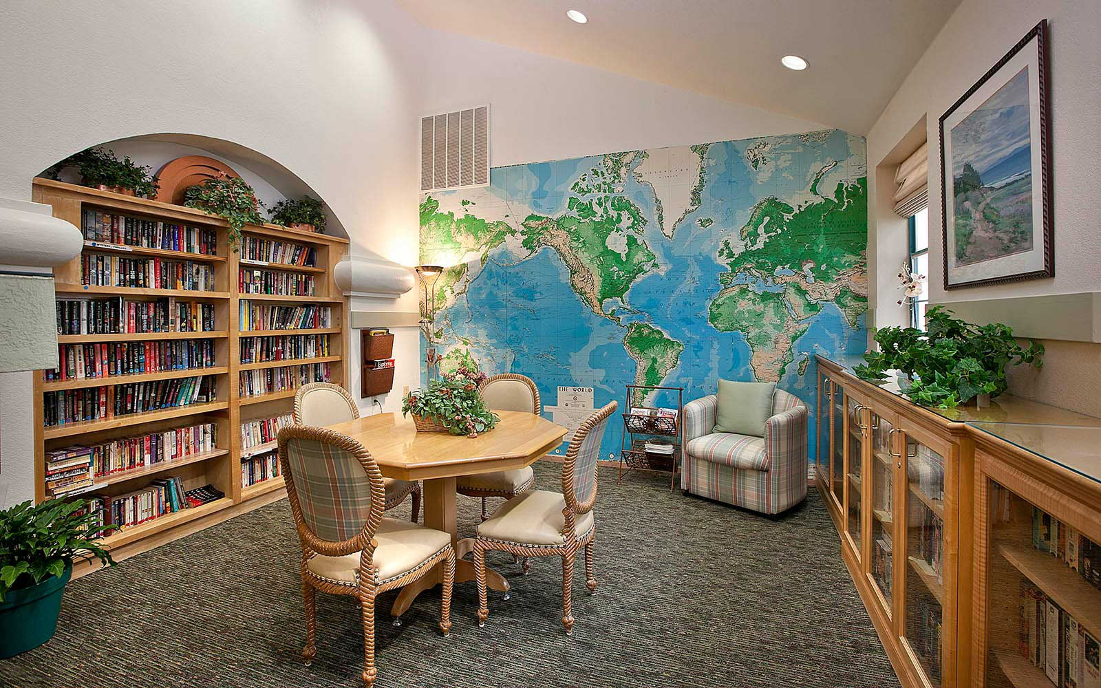 Library And Reading Room at Rancho Franciscan Senior Apartments in Santa Barbara, CA