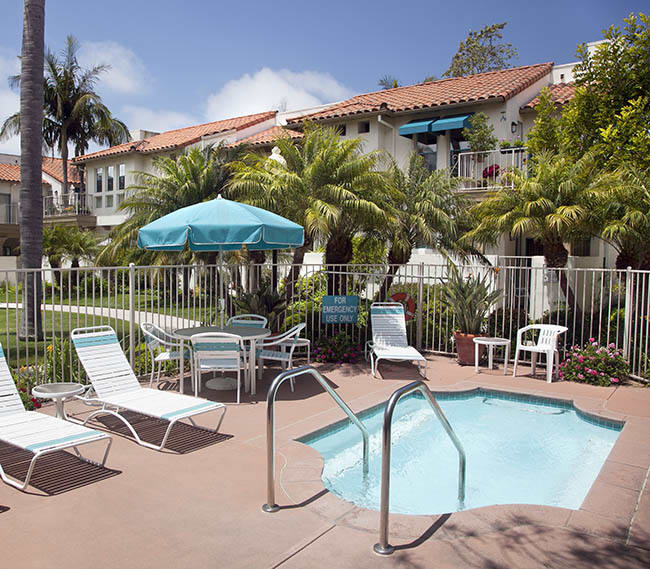 Relax your cares away in the hot tub at Rancho Franciscan Senior Apartments