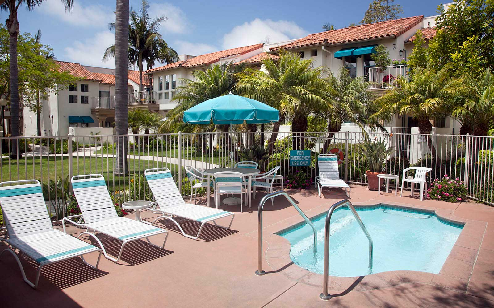 Resort Style Sundeck With Hot Tub at Rancho Franciscan Senior Apartments in Santa Barbara, CA