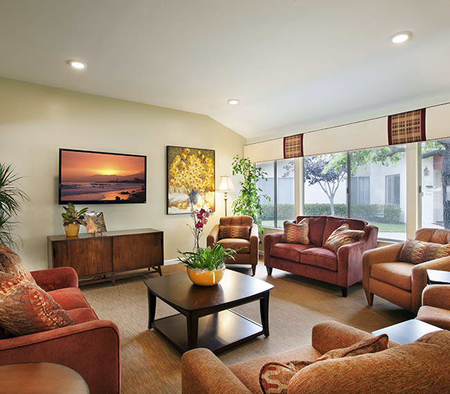 Our clubhouse at Shepard Place Apartments has plenty of comfy chairs and couches