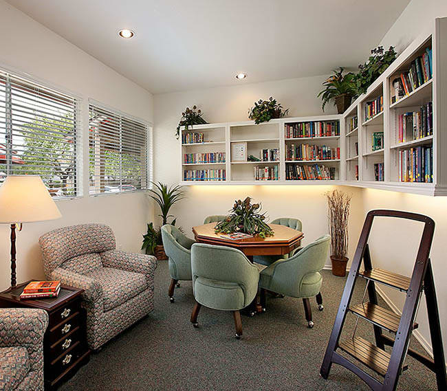 Get lost in a good book in our reading room at Shepard Place Apartments in Carpinteria