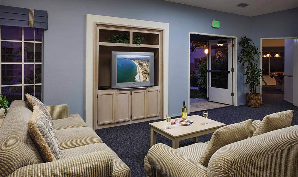 Clubhouse Common Room With TV And Couches at Cypress Meadows Senior Apartments in Ventura, CA