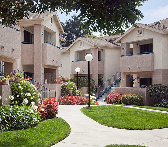 Landscaped courtyard at Cypress Meadows Senior Apartments