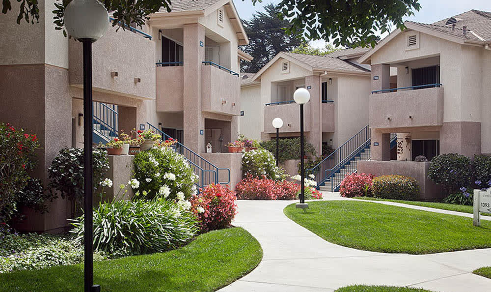 Nicely Landscaped Courtyard at Cypress Meadows Senior Apartments in Ventura, CA