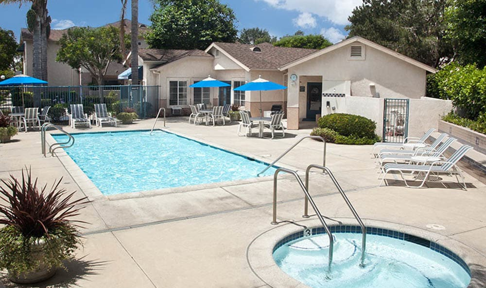 Pool Deck With Hot Tub at Cypress Meadows Senior Apartments in Ventura, CA