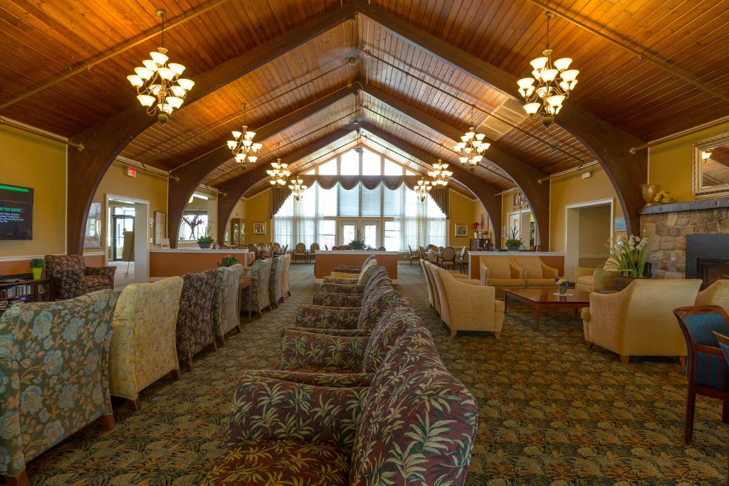 Interior social spaces at Bentley Assisted Living at Branchville