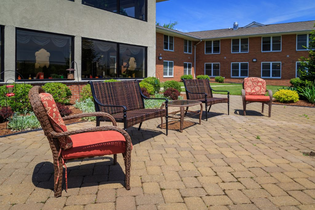 Exterior social spaces at Bentley Assisted Living at Branchville
