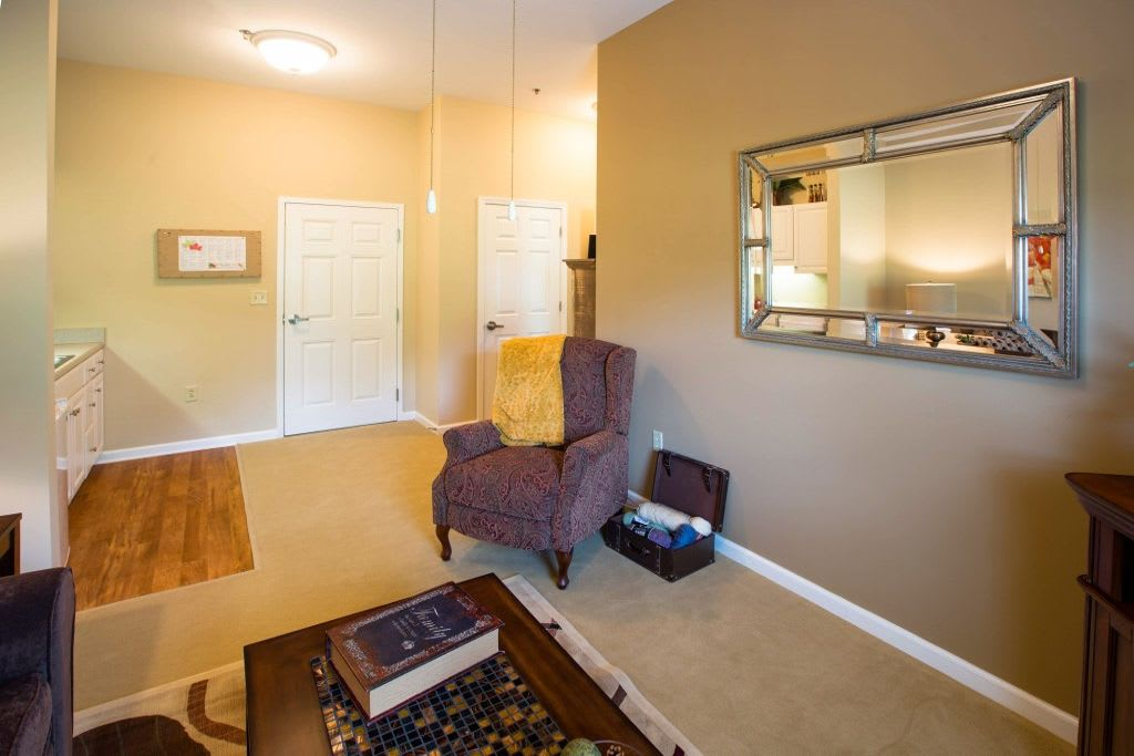 Living room apartment at Bentley Assisted Living at Northminster