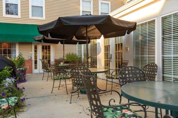 Exterior social space at State Street Assisted Living