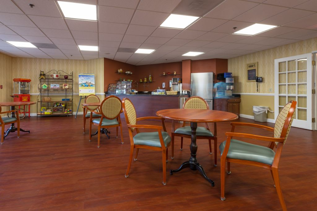 Coffee break room at The Brookside Assisted Living Community